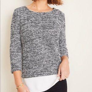 Ann Taylor Tweed Mixed Media Sweater